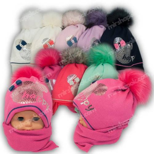 Детский комплект - шапка и шарф для девочки, р. 50-52, Grans (Польша), утеплитель Softi Term, A797ST