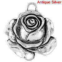 """Подвеска """" Роза / Цветы """", Античное серебро, 3,6 * 3,3 см"""