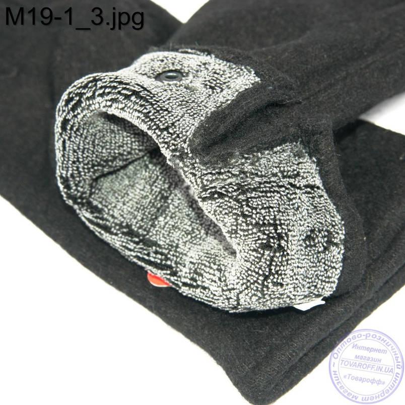 Оптом мужские кашемировые перчатки с махровым утеплителем - M19-1, фото 2