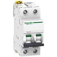 Автоматичний вимикач модульний 2p 20А 6кА х-ка C, Schneider Electric Acti9 iK60N 2p 20А C (A9K24220)