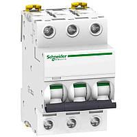 Автоматичний вимикач модульний 3p 20А 6кА х-ка C, Schneider Electric Acti9 iK60N 3p 20А C (A9K24316)