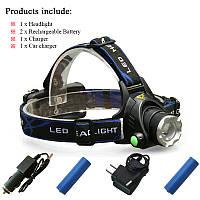 Налобный светодиодный фонарь Cree XM-L T6, 3 режима, фокусировка. Полный комплект.