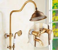 Душевая стойка для ванной комнаты со смесителем краном лейкой и верхним душем бронза 0231