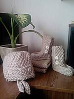 Детский вязаный комплект (шапка, шарф, носки, ручная работа (образец)