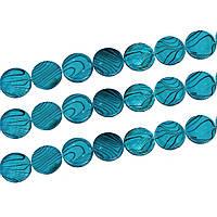 Бусины из раковины, 20mm, Круглая, Синяя с полосами