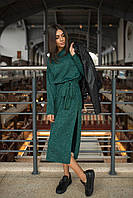 Платье модное миди с поясом и разрезами по бокам из меланжевой ангоры разные цвета SMf1821