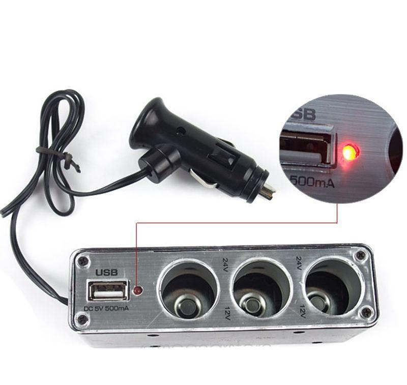 Тройник-разветвитель для прикуривателя с USB WF-0096 - USB разветвитель