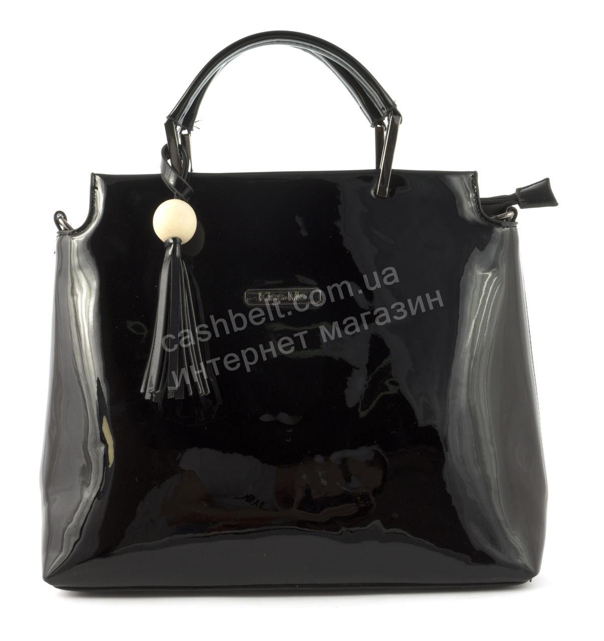 643d6ce8395d Удобная оригинальная стильная прочная женская лаковая сумка KISS ME art.  A605 черная - Ремешок и