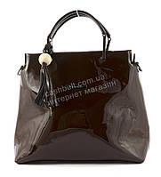 Удобная оригинальная стильная прочная женская лаковая сумка KISS ME art. A605 коричневая