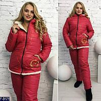 Теплый красный спортивный костюм батал , с вышивкой на кармане. Арт-10166