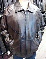 Коричневая кожаная куртка на резинке по бокам