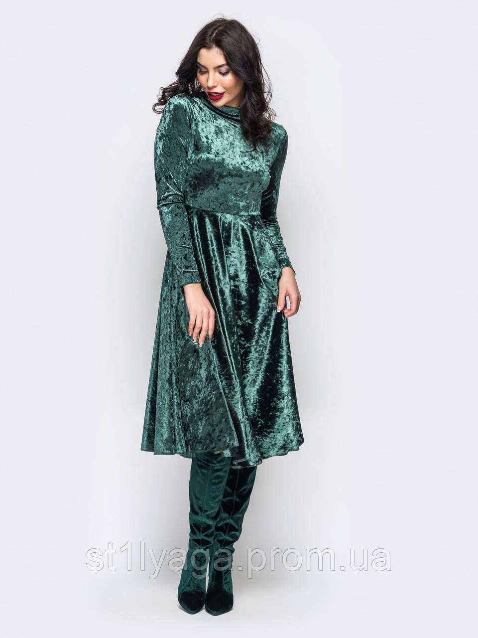 bcd6d19bf29c094 ... Платье с длинными рукавами и пышной юбкой ниже колен из велюра зеленый,  фото 4 ...