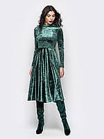 S, M, L  Платье с длинными рукавами и пышной юбкой ниже колен из велюра зеленый 46