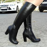 Сапоги женские классические на высоком каблуке