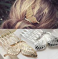 Заколки для волос Бабочки, золотистые, пара, фото 1