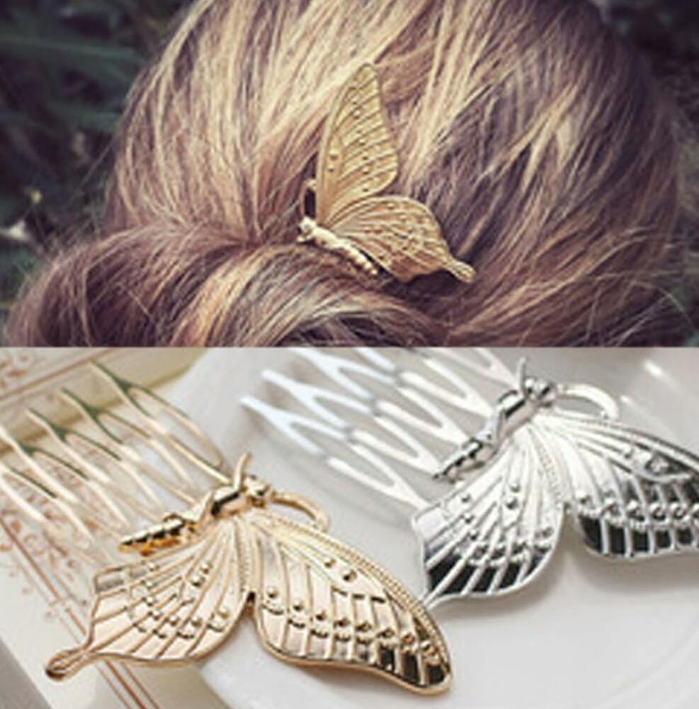 Заколки для волос Бабочки, золотистые, пара