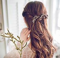 Заколки для волос Ветки, золотистые, 2шт, фото 1