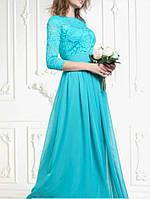 Красивое длинное вечернее платье бирюзового цвета на выпускной DLS-60177