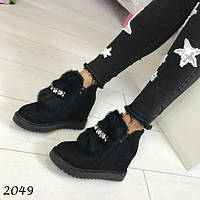 Женские зимние ботиночки на танкетке натуральный кролик черные АВ-2049