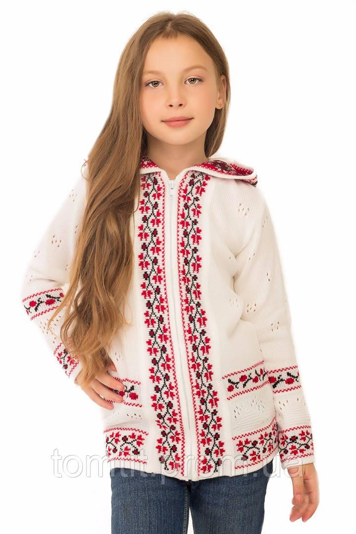 """Теплая шерстяная кофта """"София"""", для девочки, с украинским орнаментом, на рост 128 см"""