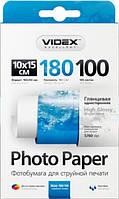 """Фотобумага """"Videx"""" глянцевая, 10х15, 100 листов"""
