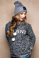 Молодежная женская темно-серая шапка 17064