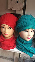 Шапка и шарф женская, цена за набор