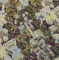 Ткань гобелен Мишки бордо