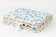 Плед детский плюшевый BabySoon Мятные ежики 78 х 85 см  плюш бежевый (350), фото 1