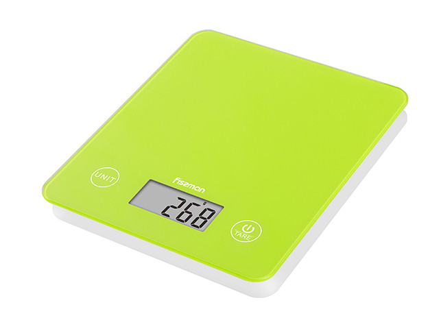 Весы кухонные электронные 22х19х1.8см стеклянные Fissman