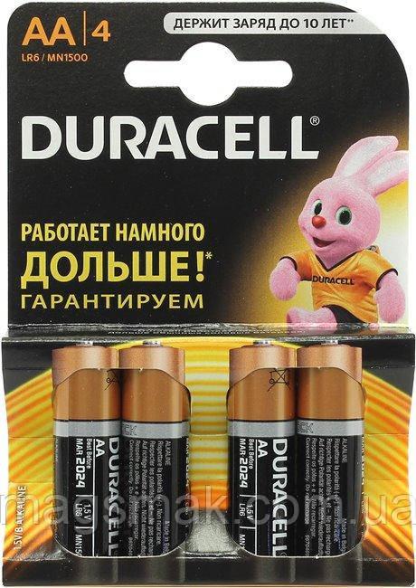 Батарейки алкалиновые DURACELL Basic AA 1.5V LR6 4 шт