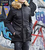 Зимняя куртка, цвет - черный, материал - плащевка, наполнитель - синтепон 300-й (до -30)