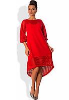 Красное платье с коротким передом