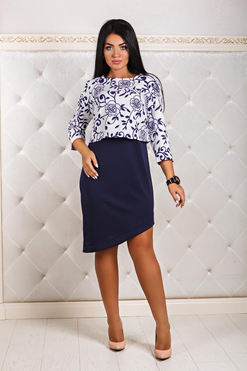 ДТ1170 Платье с накидкой-обманкой размеры 50-56