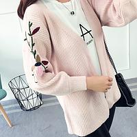 Теплый вязаный кардиган розового цвета с вышивкой