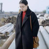 Стильное женское длинное шерстяное пальто