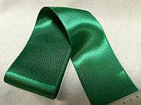 Копія  Стрічка атласна  двостороння 6,6 см на метраж, зелена