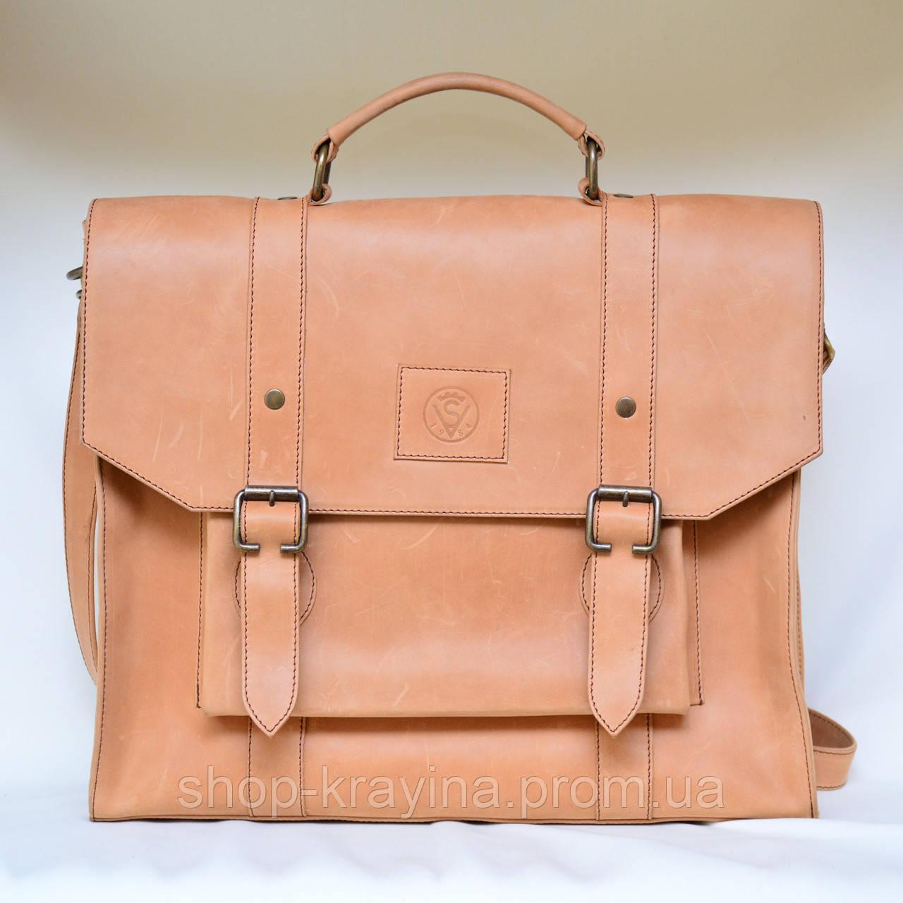 Портфель кожаный VS114 light beige 38х35х10 см