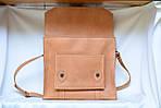 Портфель кожаный VS114 light beige 38х35х10 см, фото 2