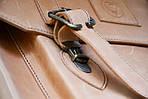 Портфель кожаный VS114 light beige 38х35х10 см, фото 4