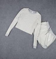 Модный летний костюм серого цвета кофта+шорты