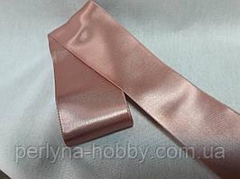Стрічка атласна  двостороння 6,6 см на метраж, рожево-попеляста