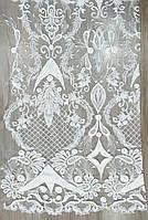 Роскошный свадебный гипюр вышитый кордом с двухсторонним купоном PD0135-B