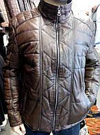 Коричневая кожаная утепленная куртка