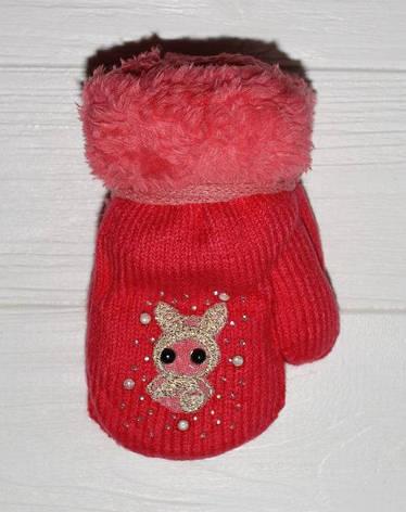 Дитячі теплі гарні рукавички зі стразами, фото 2