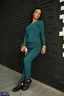 Стильный бирюзовый  бесшовный вязаный женский спортивный костюм кашемир   Арт-15066