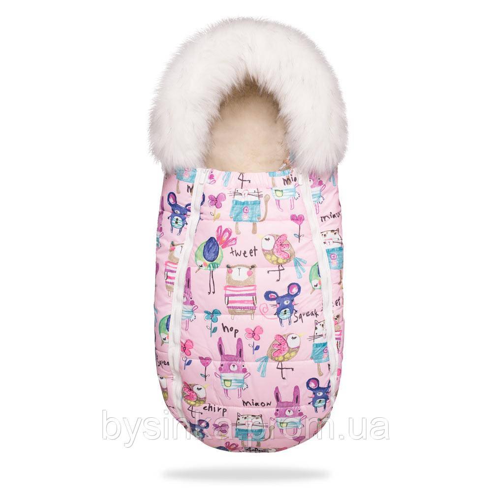 Зимний конверт-кокон на овчине Baby XS , 100 % овечья шерсть