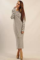 Удобное и теплое платье Снежана приталенного силуэта миди-длины с удлиненным рукавом 42-52 размер