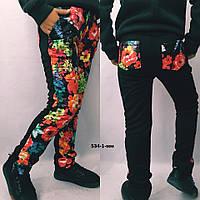 Теплые детские штаны для девочки Цветы