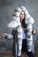 Акция! Модная парка с мехом полярной лисы, длина 85см, размер 44